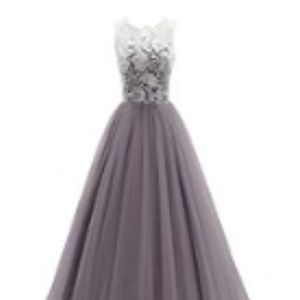 Formal prom dress with tulle and lace.